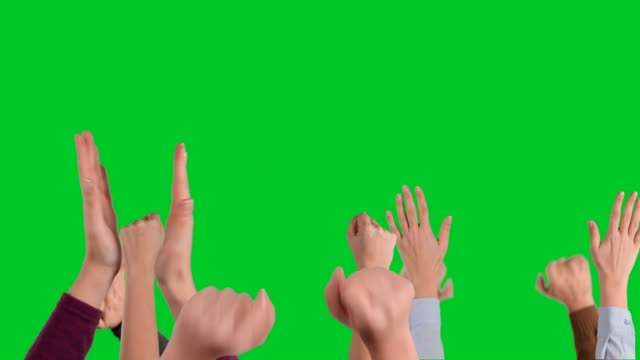 hands making cheering gestures on chroma key - arms raised stock videos & royalty-free footage