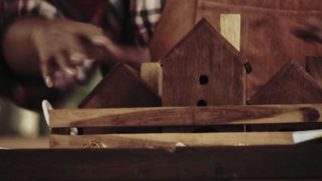 hands of a male carpenter - birdhouse stock videos & royalty-free footage