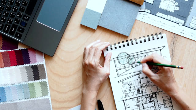 hands of architect working - sketch stock videos & royalty-free footage