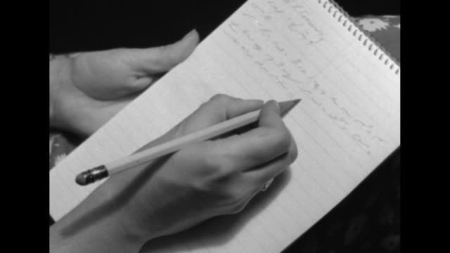 vídeos de stock, filmes e b-roll de hands of dentist working inside woman's mouth / two close ups of hand using pencil to write shorthand in notebook / hands unlocking and opening safe... - note pad