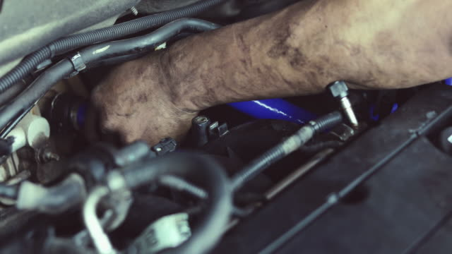 hands of engineering and auto mechanic repairing car - mechanic stock videos & royalty-free footage