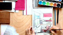 Hands of interior designer working