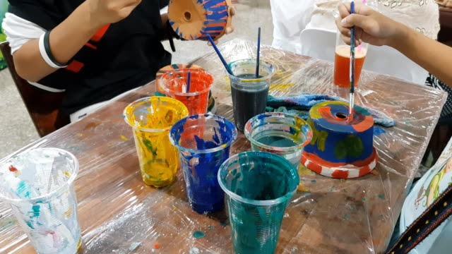 hands of painting little boy and the table for creativity - art and craft stock videos & royalty-free footage