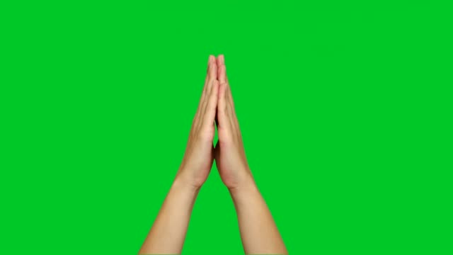 Hands opening and closing on chroma key