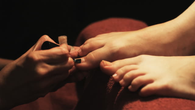 hands painting toenails - painting toenails stock videos & royalty-free footage