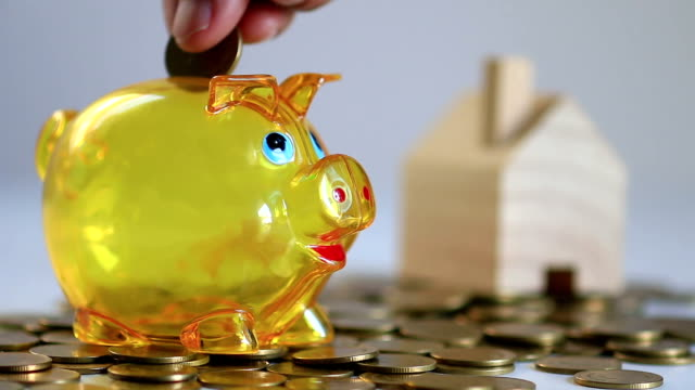 Hands putting coin into piggy bank