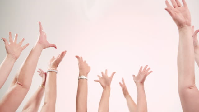 Hands Raised on white background