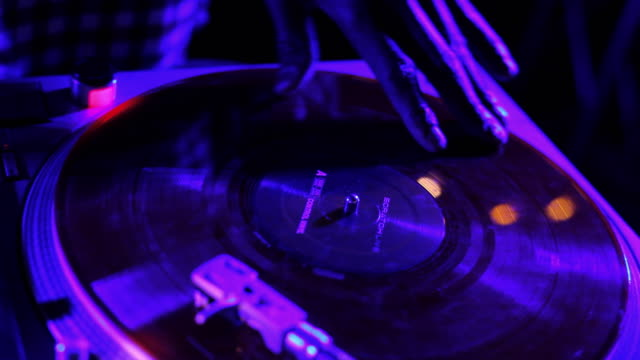 dj hands scratch on turntable - deck stock videos & royalty-free footage