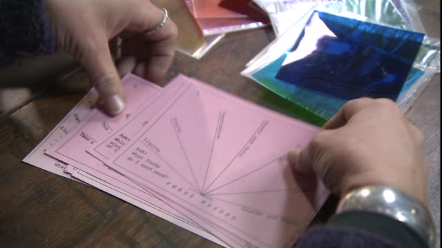 hands sort through dowsing cards. - fortune telling stock videos & royalty-free footage