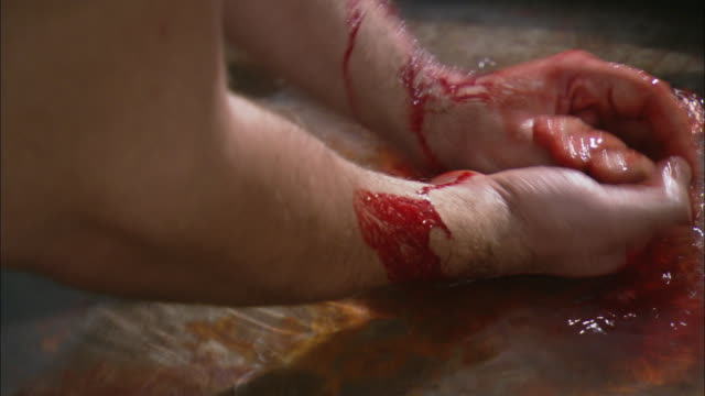 Hands wash blood from arms in a basin of water.