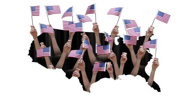 米国の地図上で米国の旗を振る手。 - 米民主党点の映像素材/bロール