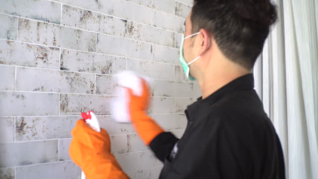 hands with protective glove disinfecting tiled bathroom wall - washing up glove stock videos & royalty-free footage