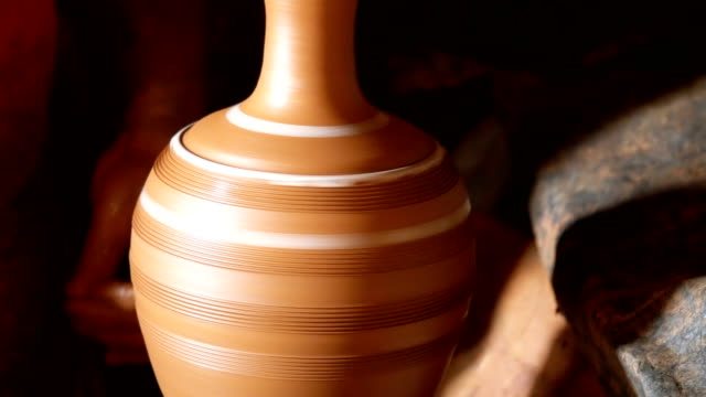 hands working on pottery wheel - vase stock videos & royalty-free footage