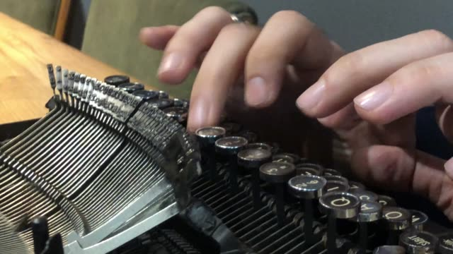 hands writing on old typewriter. - biography stock videos & royalty-free footage