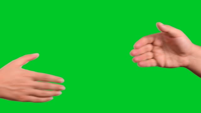 handshake on chroma key green screen - handshake stock videos & royalty-free footage