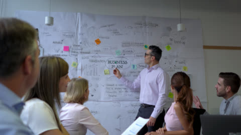 handsome business leader explaining to his team the strategic plan of the company - business strategy stock videos & royalty-free footage