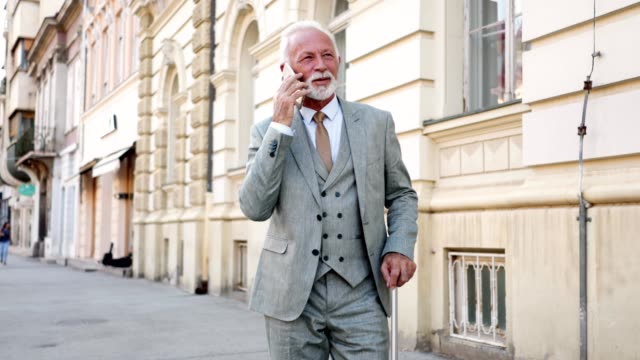 Handsome businessman with a suitcase talking on a mobile phone