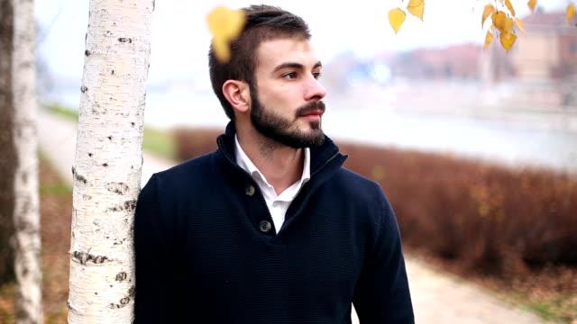 ハンサムな男性とポーズをとる屋外ウォーキング - シャツ点の映像素材/bロール