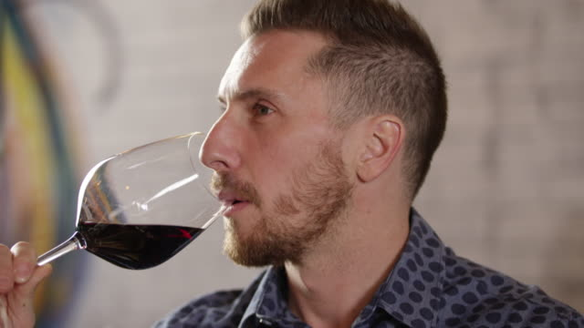 handsome man at the wine bar 4k slow motion - wine bar stock videos & royalty-free footage