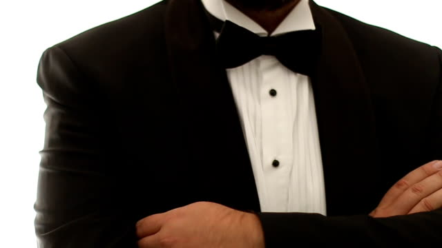handsome man in tuxedo and bow - formal stock videos and b-roll footage