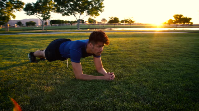 Handsome Mixed Race Man Doing a Fitness Plank