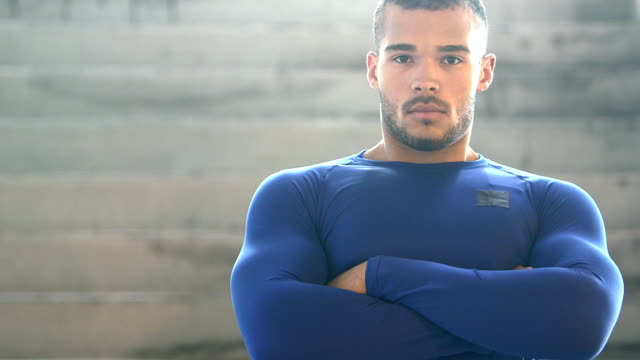 handsome, muscular, mixed race young man, serious - arms crossed stock videos & royalty-free footage