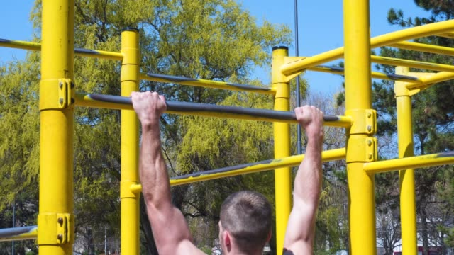 handsome muscular young man have workout training at the park - active lifestyle stock videos & royalty-free footage