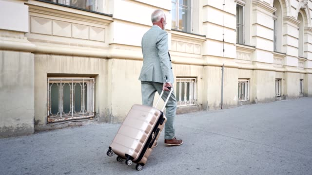 Handsome senior businessman going on a travel
