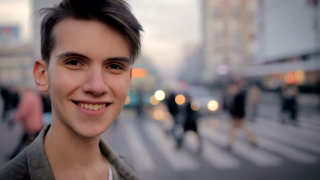 handsome young man,portrait on the street - 18 19 years stock videos & royalty-free footage