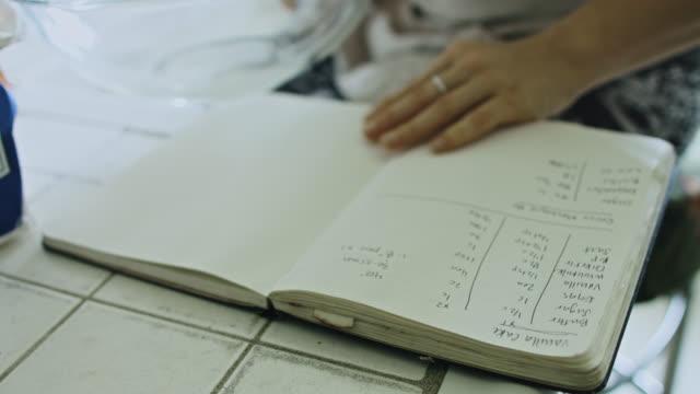 vídeos de stock e filmes b-roll de handwritten cake recipe - receita