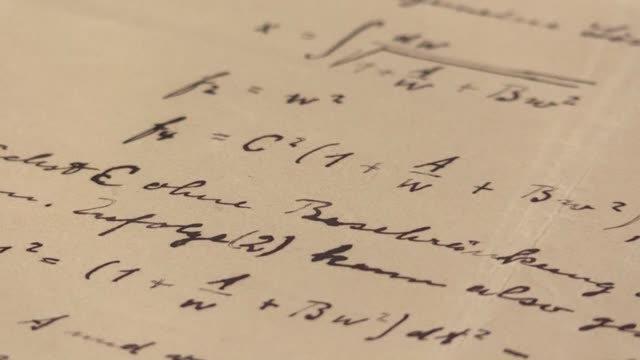 stockvideo's en b-roll-footage met a handwritten manuscript by albert einstein is being donated to the nobel prize museum - albert einstein