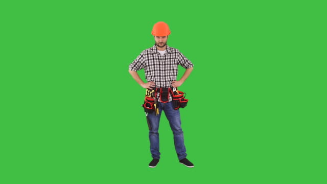 handyman gesturing stop sign - stop single word stock videos & royalty-free footage