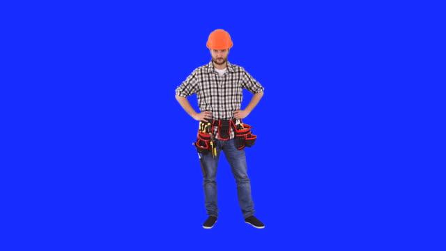 handyman gesturing stop sign - full length stock videos & royalty-free footage