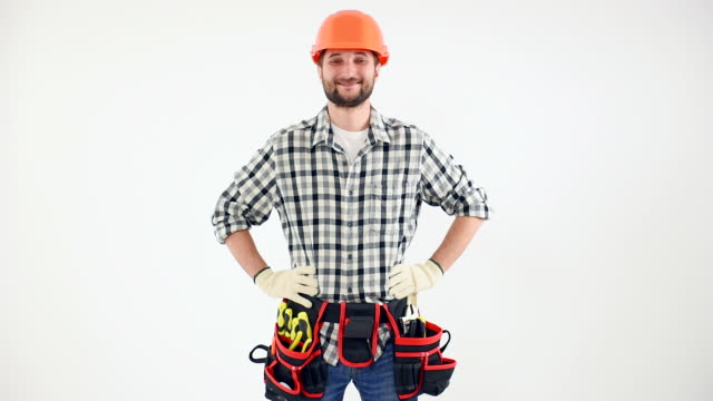 Handyman gesturing thumb up sign