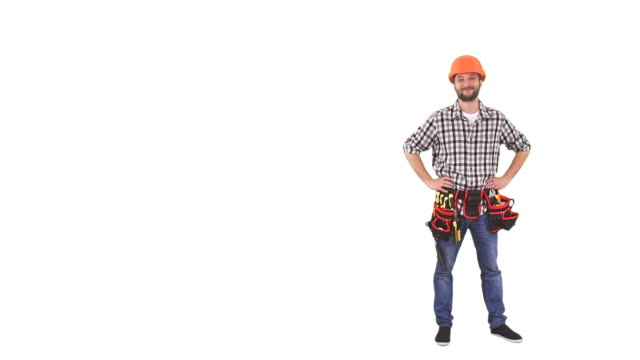 handyman standing in hardhat - full length stock videos & royalty-free footage