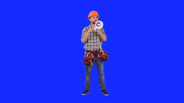 Handyman talking through a megaphone