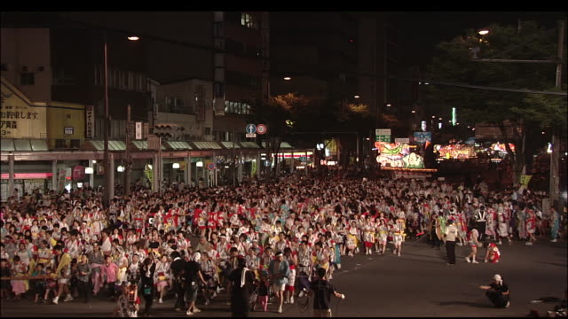 haneto dancers parade down main street during nebuta festival - high density population stock videos and b-roll footage
