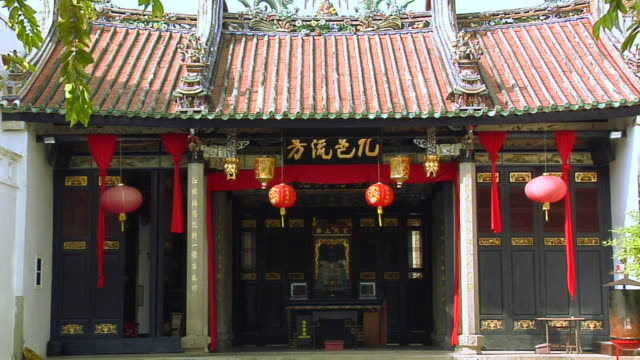 ws hang jiang teochew temple on lebuh chulia / george town, penang, malaysia - penang stock videos and b-roll footage