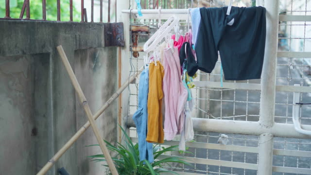 hanging clothes - washing line stock videos & royalty-free footage