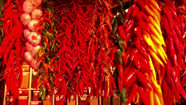 hanging colorful chili peppers and garlic - spice stock videos and b-roll footage