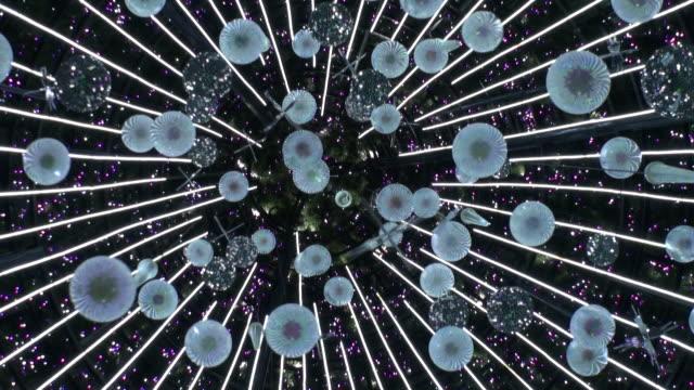 vídeos y material grabado en eventos de stock de montaje flotante decoración de fondo - view from below