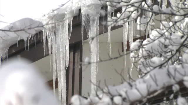 cu, hanging icicle, aomori, japan - oirase river stock videos & royalty-free footage