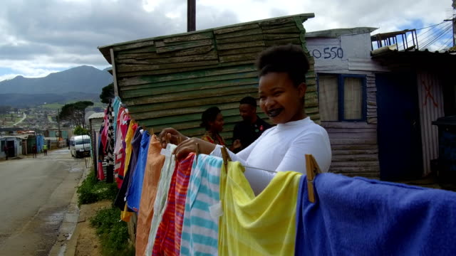 Hanging laundry in the Townships