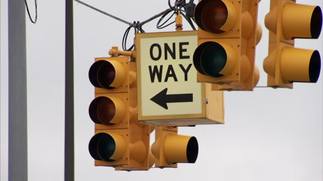 hanging traffic lights & one way sign in unidentifiable area, lights flashing red light. - one way stock videos & royalty-free footage