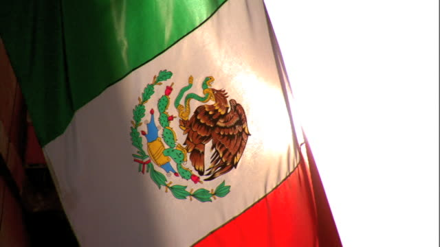 hanging tricolor mexican flag w/ national coat of arms on center white stripe, bright sun bg. - mexico city stock videos & royalty-free footage