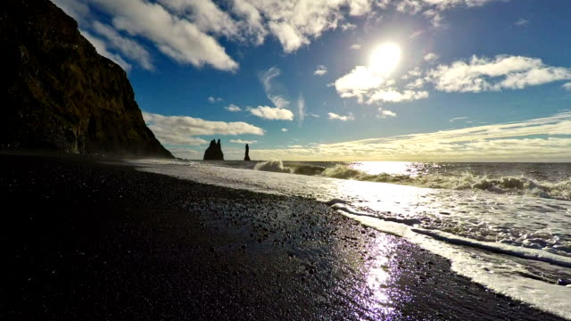 hd hanheld shot of reynisdrangar sea stacs ,south iceland - altocumulus stock videos and b-roll footage