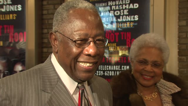 hank aaron play at the opening night of 'cat on a hot tin roof' at new york ny - hank aaron stock videos & royalty-free footage