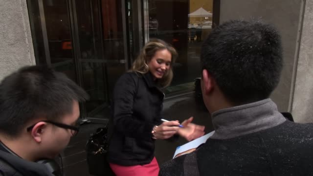 hannah davis poses with and signs for fans and talks while walking to her car outside the fox friends show in celebrity sightings in new york - sports illustrated swimsuit issue stock videos & royalty-free footage