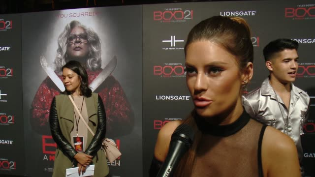 """INTERVIEW Hannah Stocking on the premiere at Lionsgate Presents the Los Angeles Premiere of Tyler Perry's """"Boo 2 A Madea Halloween"""" in Los Angeles CA"""