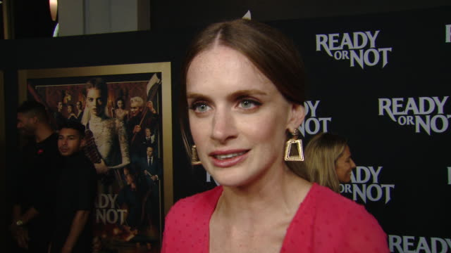 """interview hanneke talbot on her character and the movie production at the """"ready or not"""" los angeles special screening presented by fox searchlight... - fox searchlight pictures stock videos & royalty-free footage"""